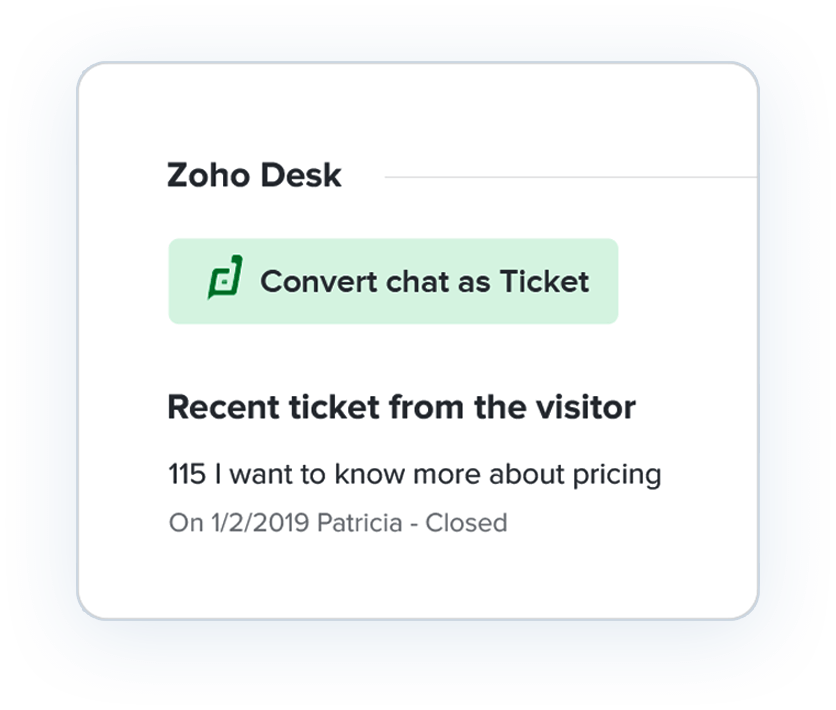 Customer Live chat ticket conversion
