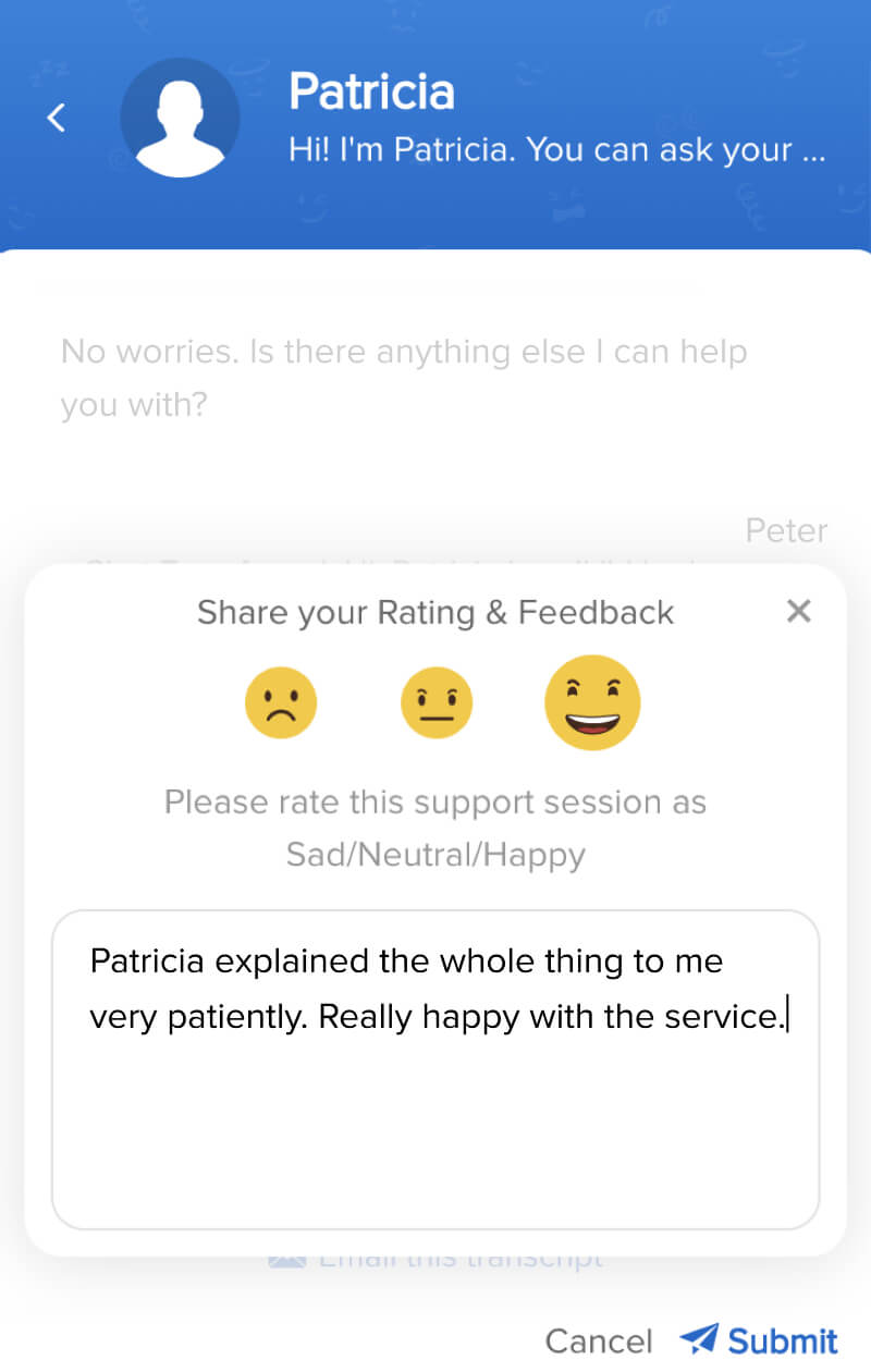 Chat rating and customer feedback