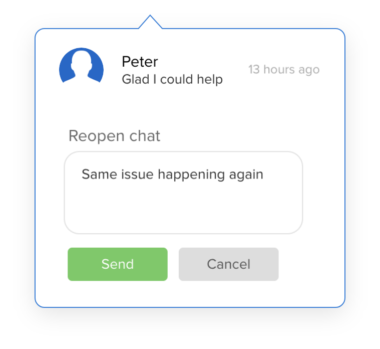 Give customers access to their chat history