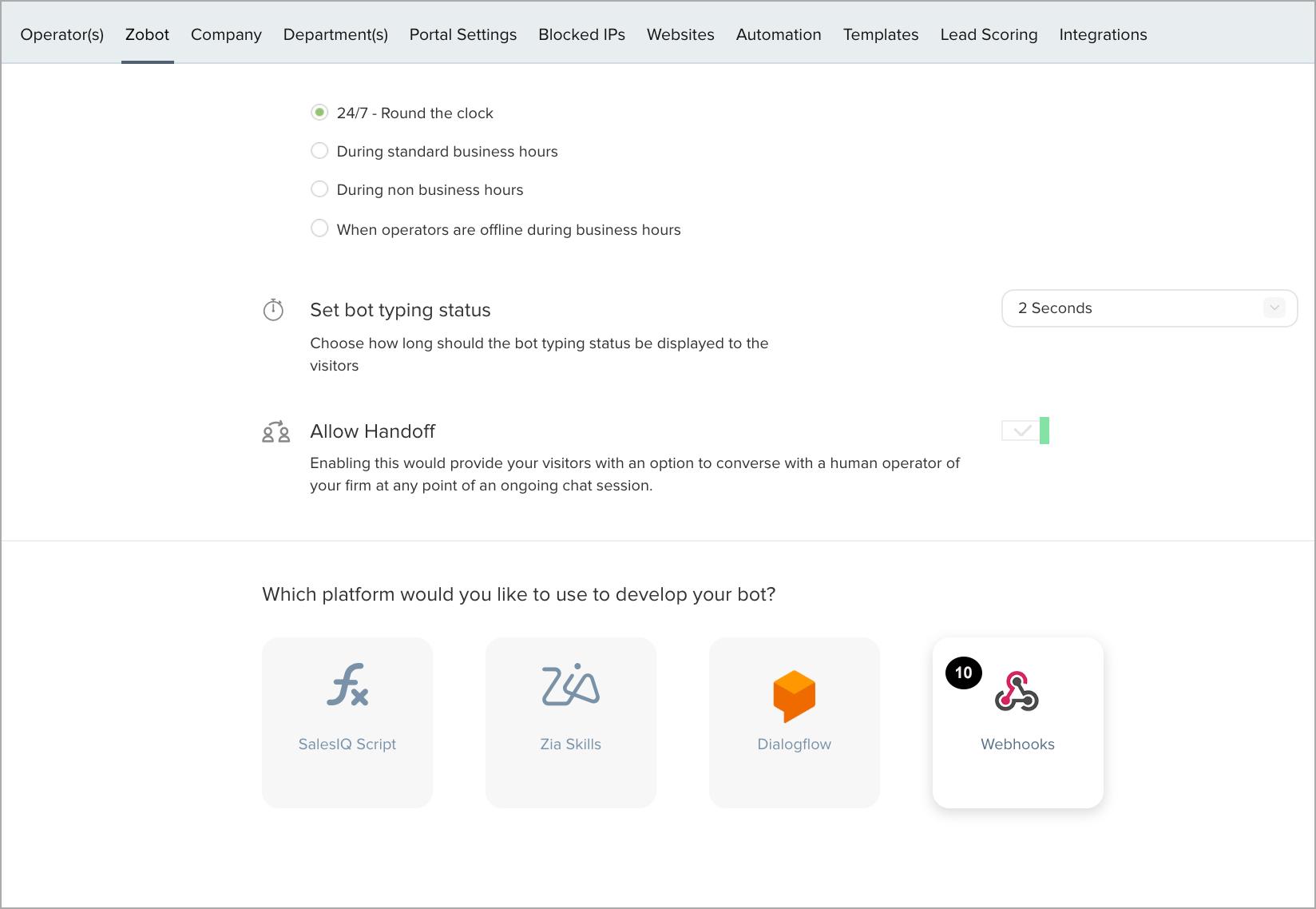 Integrating Zobot via Web hooks