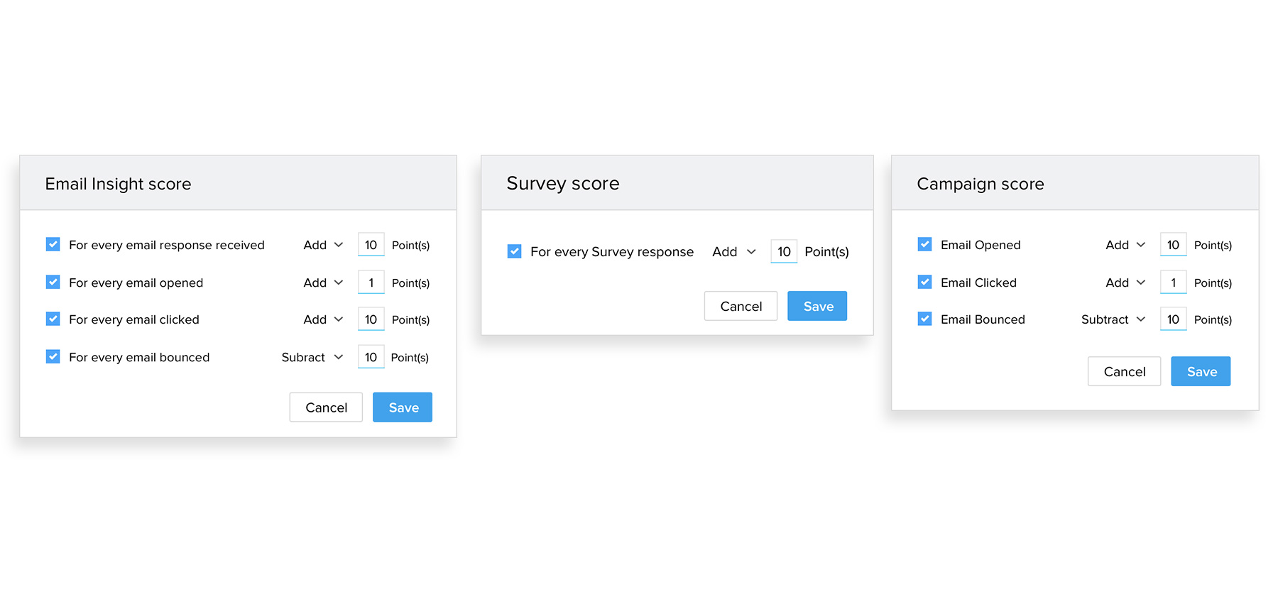 Lead score - Survey score- Campaign score table in lead management