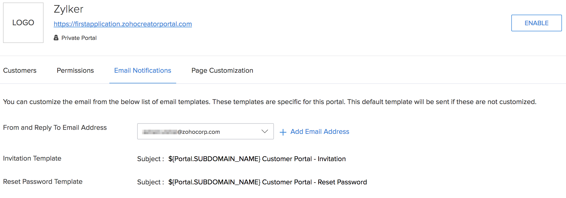 Customize Invitation Template In Customer Portal