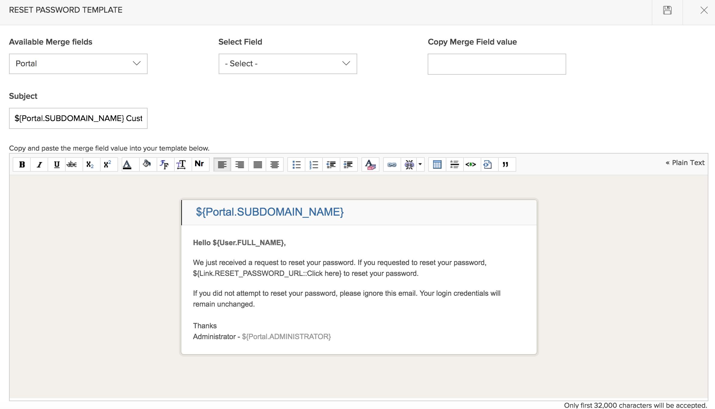 Customize Reset Password Template for the Customer Portal