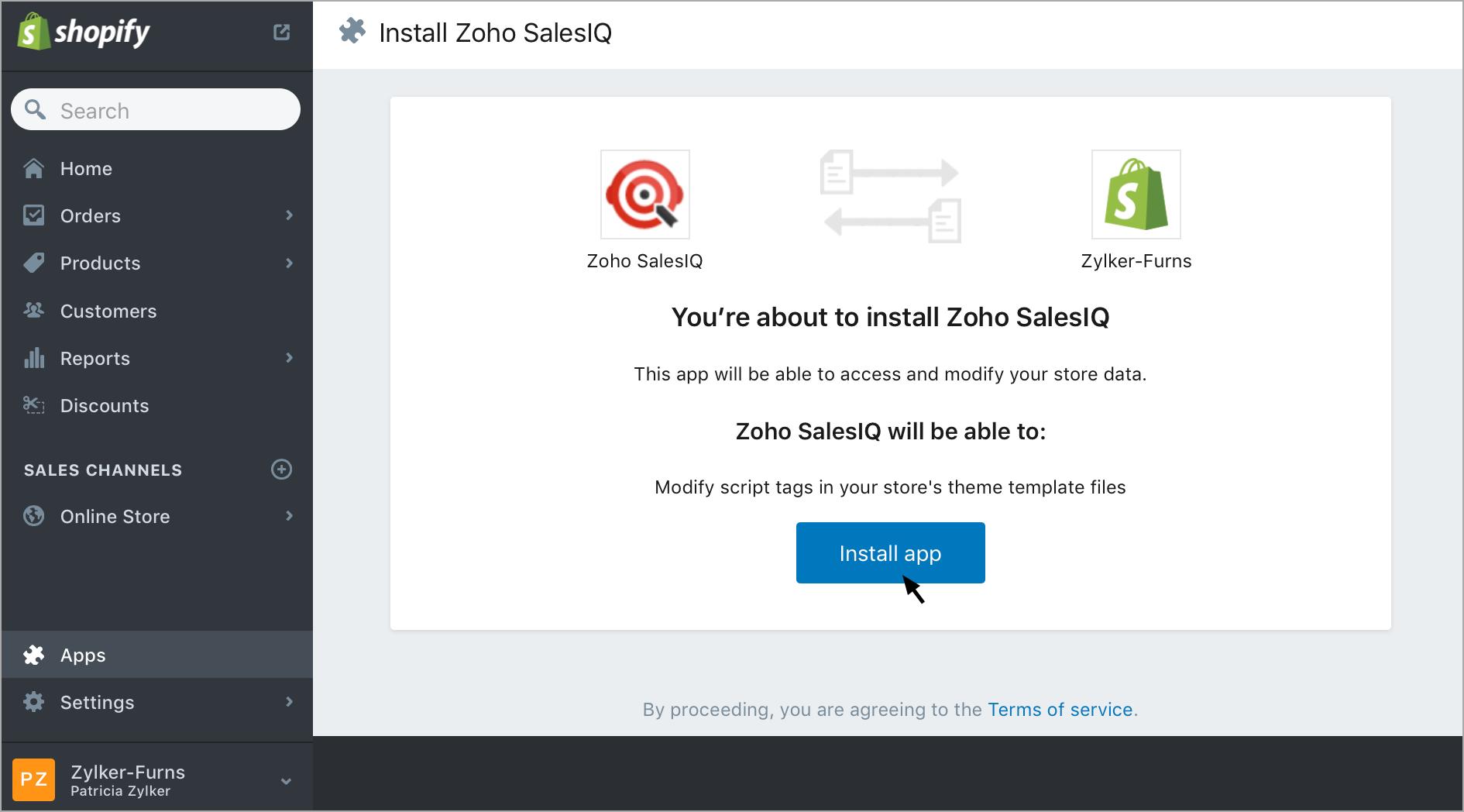 Integrate Zoho SalesIQ with Shopify plugin