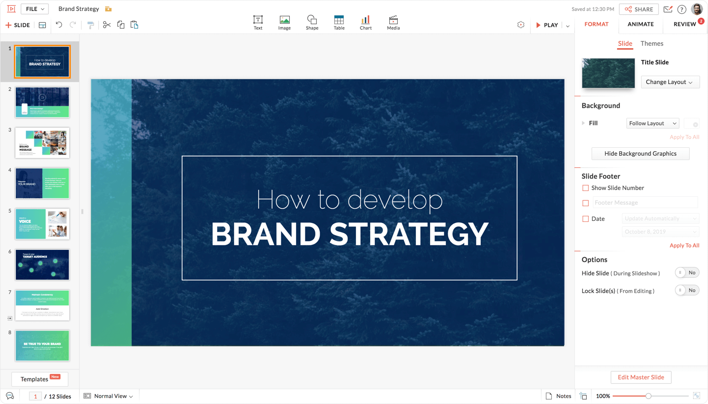 Design, discuss, and deliver slides online using Zoho Show