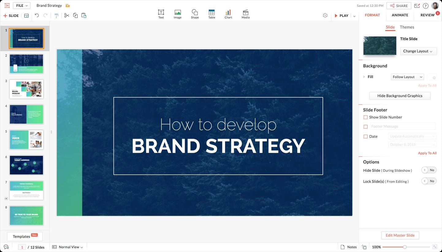 Concevez, discutez et réalisez des diapositives en ligne grâce à Zoho Show.