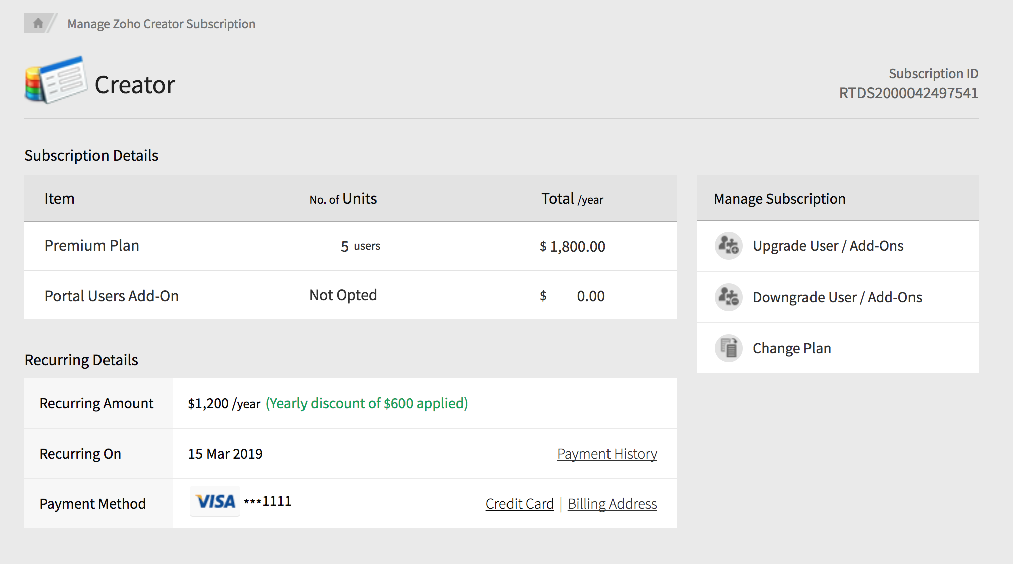 View account subscription details | Zoho