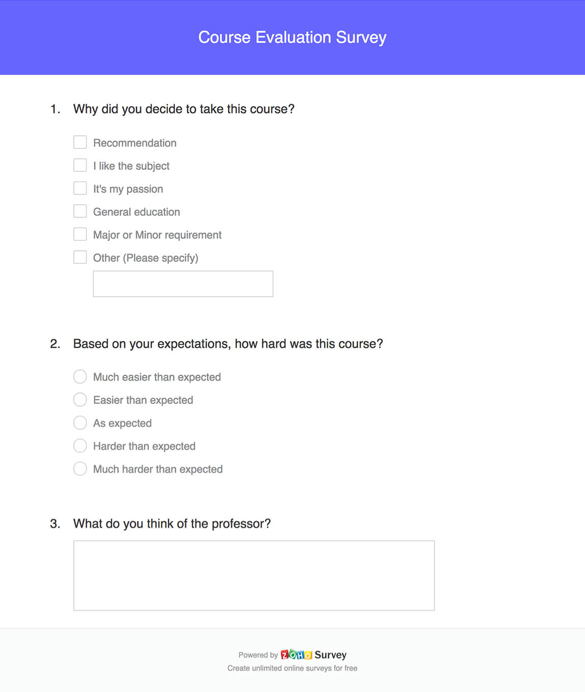 Course Evaluation Survey Example Questions And Template