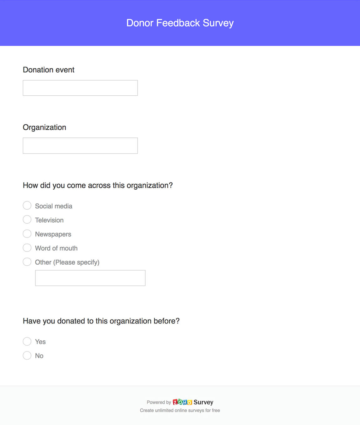 Donor feedback survey questionnaire template