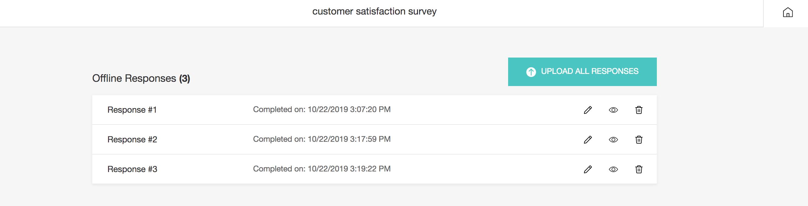 Offline survey upload responses