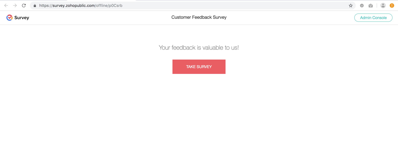 Offline survey admin console