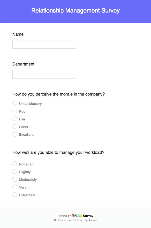 Relationship Management Survey Template - Zoho Survey