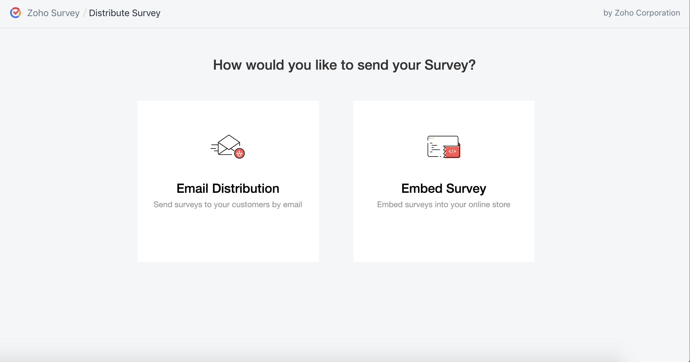 Zoho Survey Shopify distribute survey
