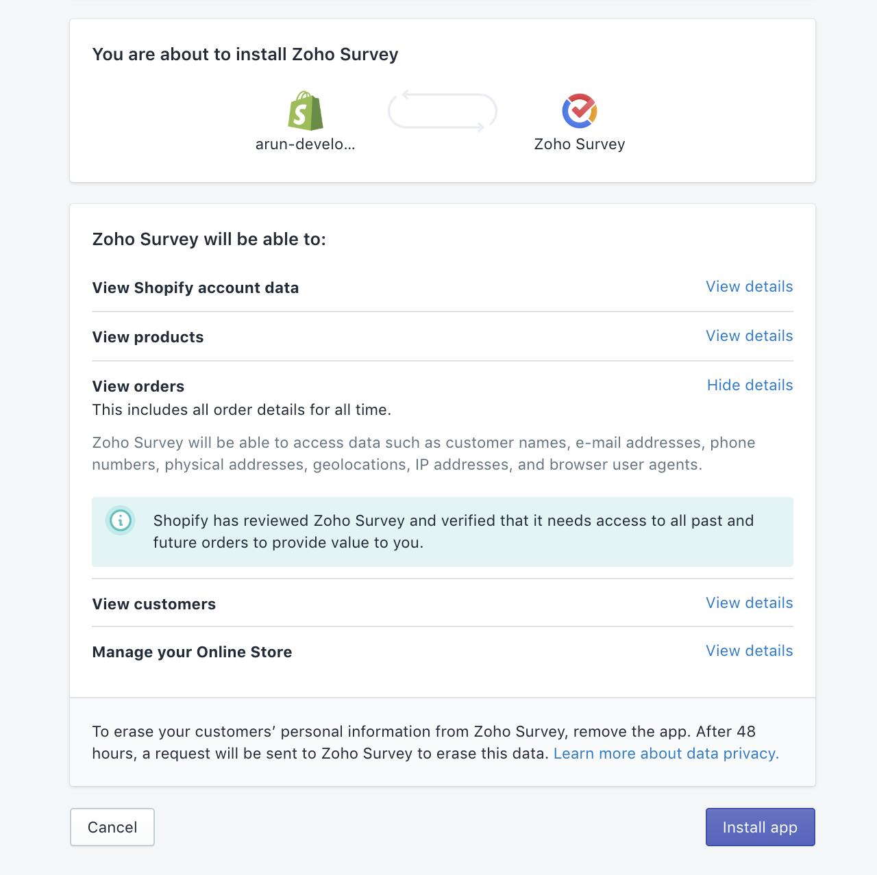 Zoho Survey Shopify install app