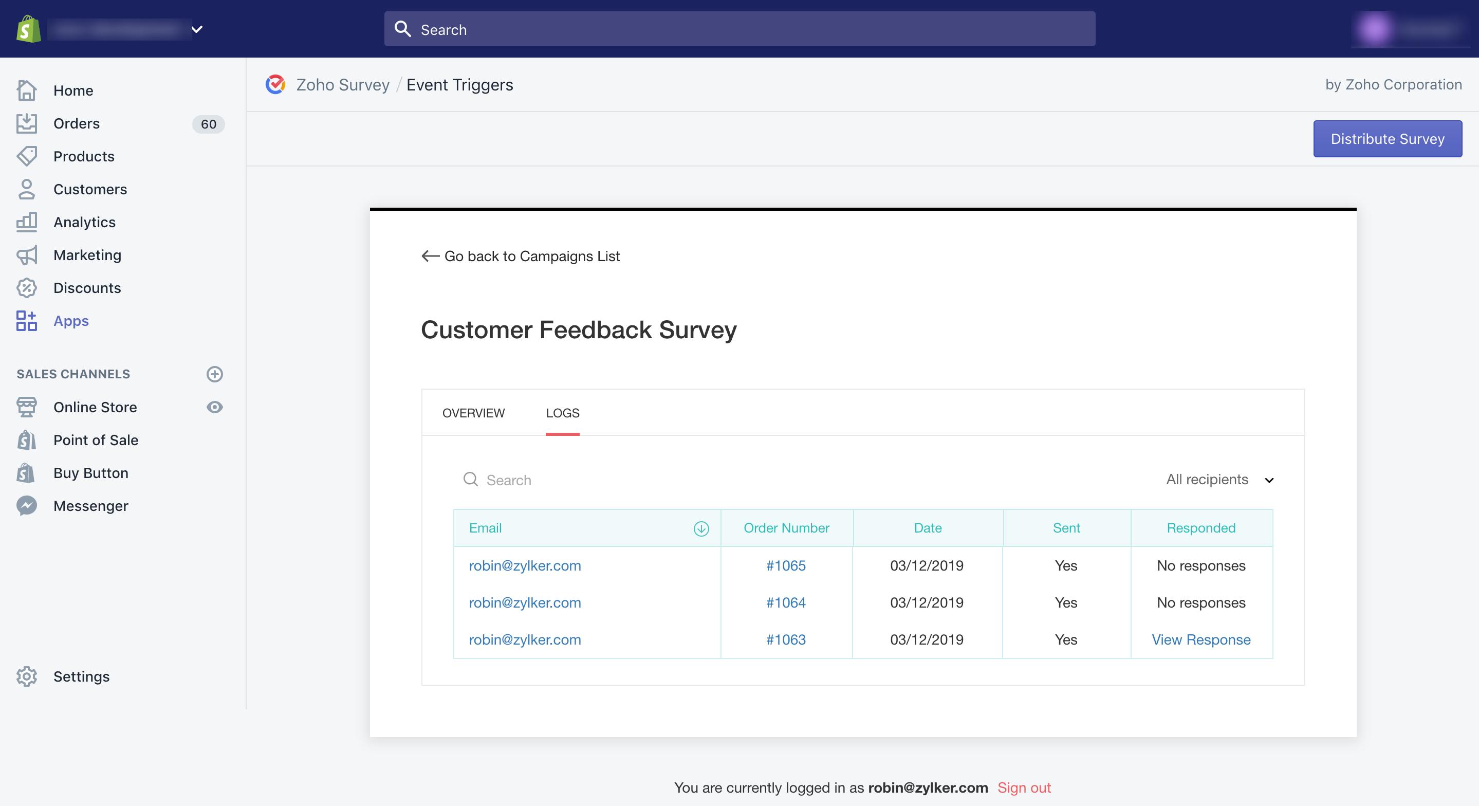 Zoho Survey Shopify event trigger logs