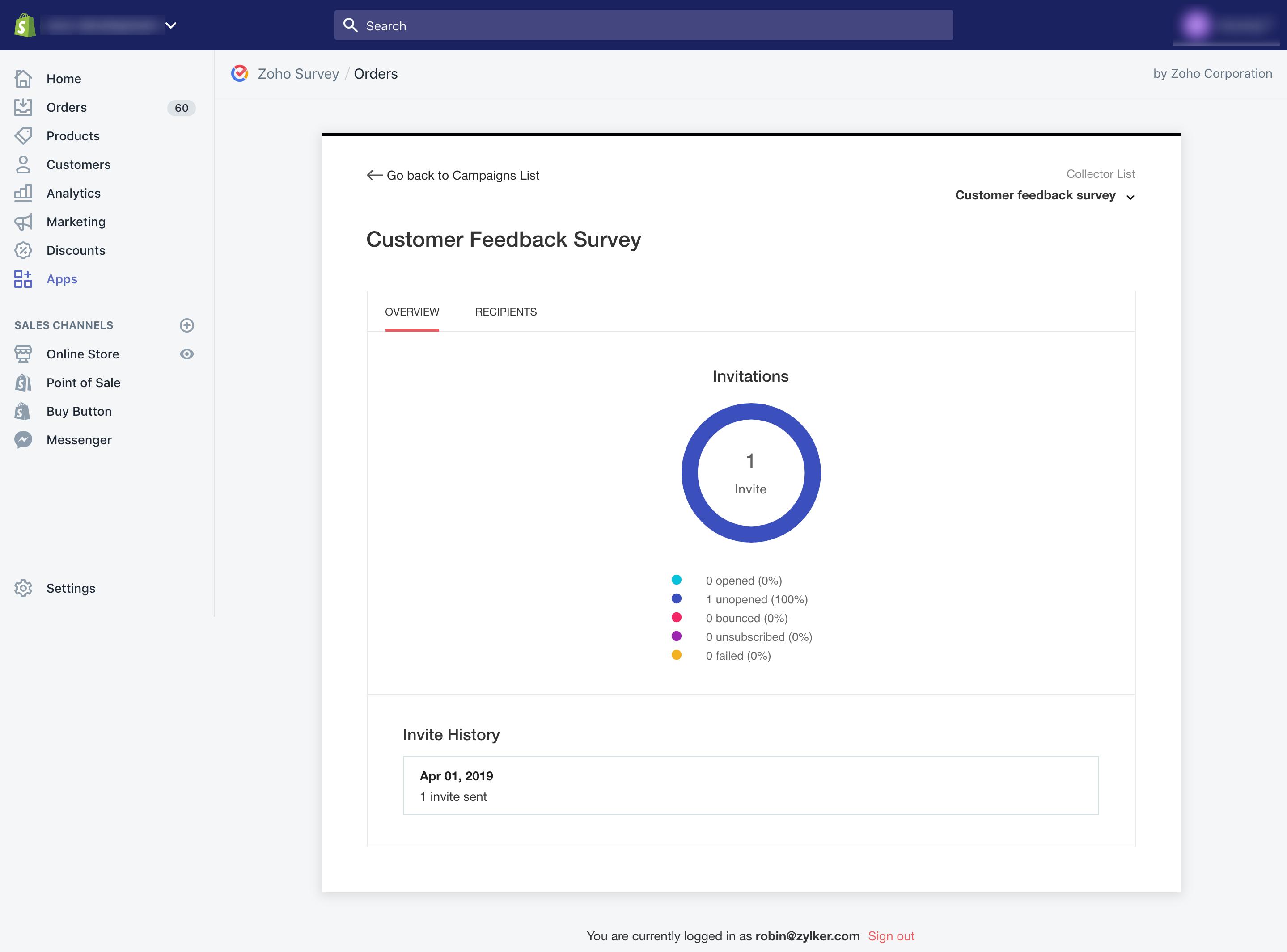 Zoho Survey Shopify order overview