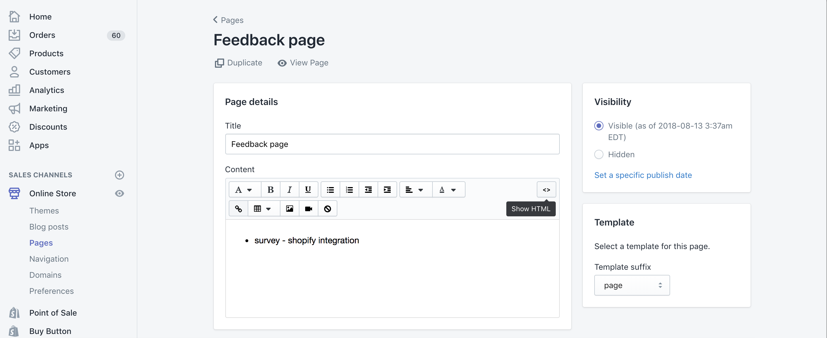Zoho Survey Shopify show HTML