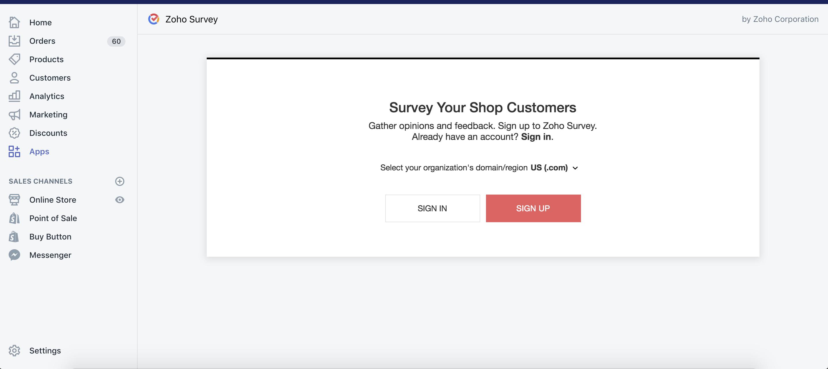 Zoho Survey Shopify sign up