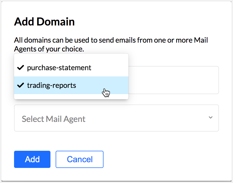 Select multiple mail agents in Transactional email account