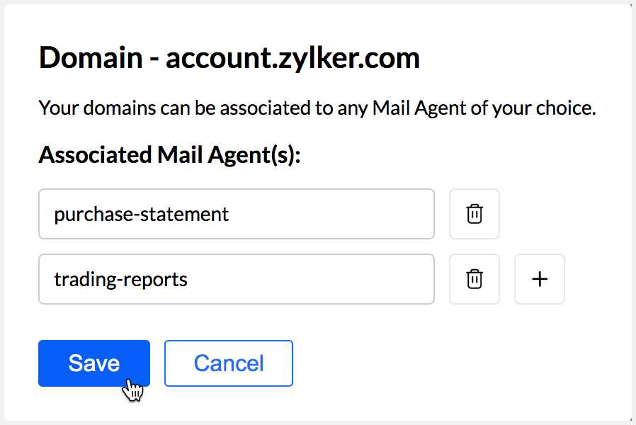 Select the Mail Agent that you want to associate