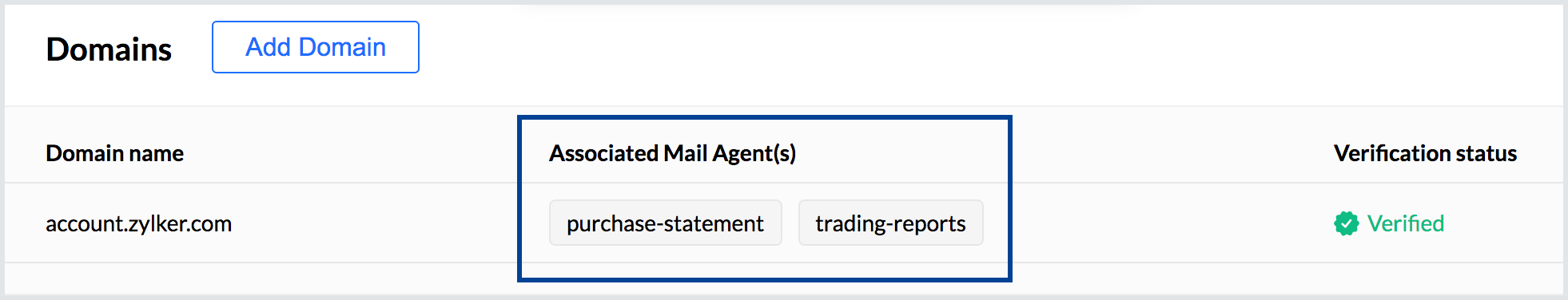 Now your domain is associated with multiple Mail Agents