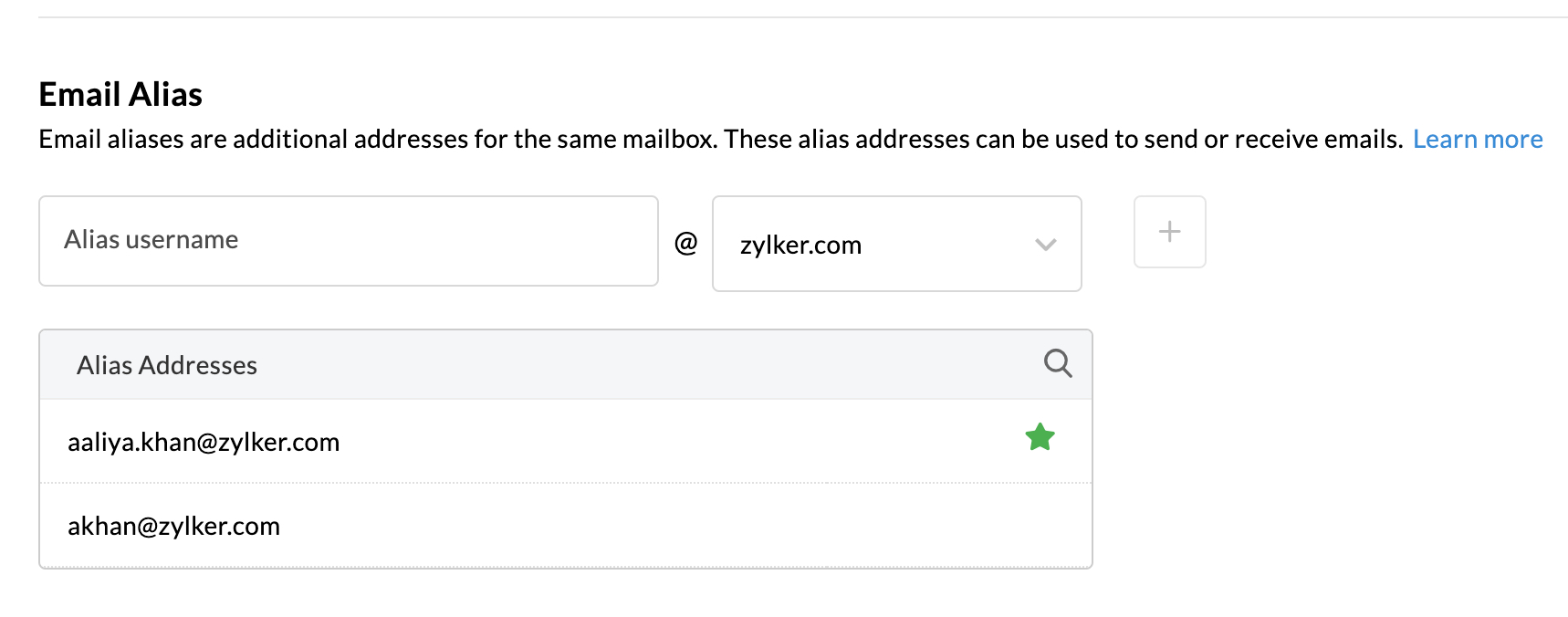 Add email alias to the primary account