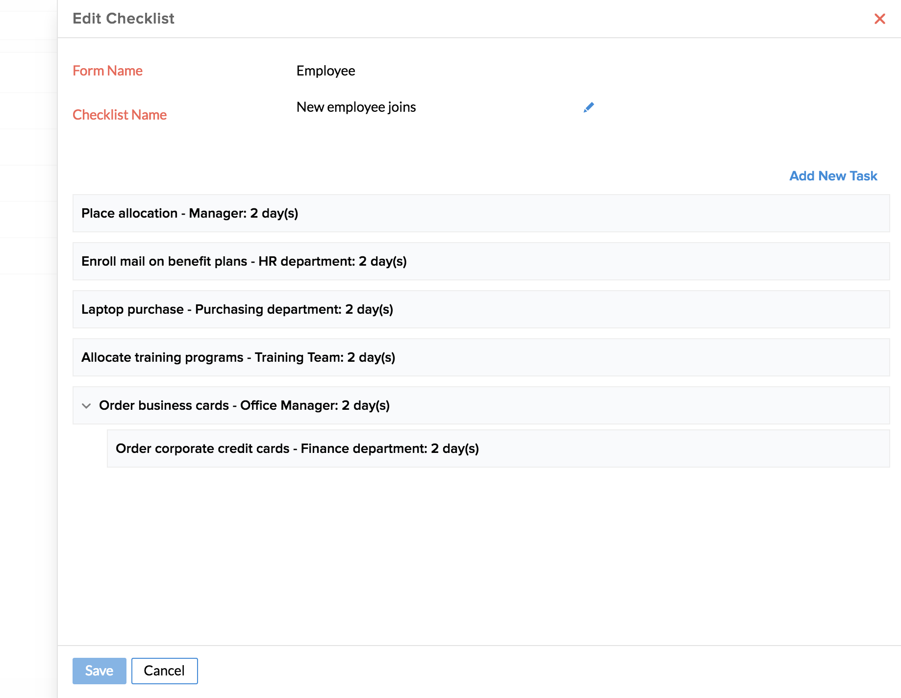 Automation in Checklists | Zoho People