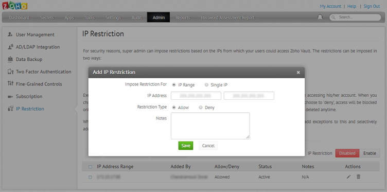 Steps to configure IP restriction in Zoho's password manager