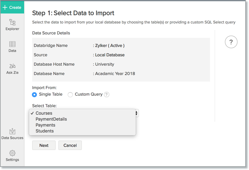 Import Data from MySQL l Zoho Analytics Help