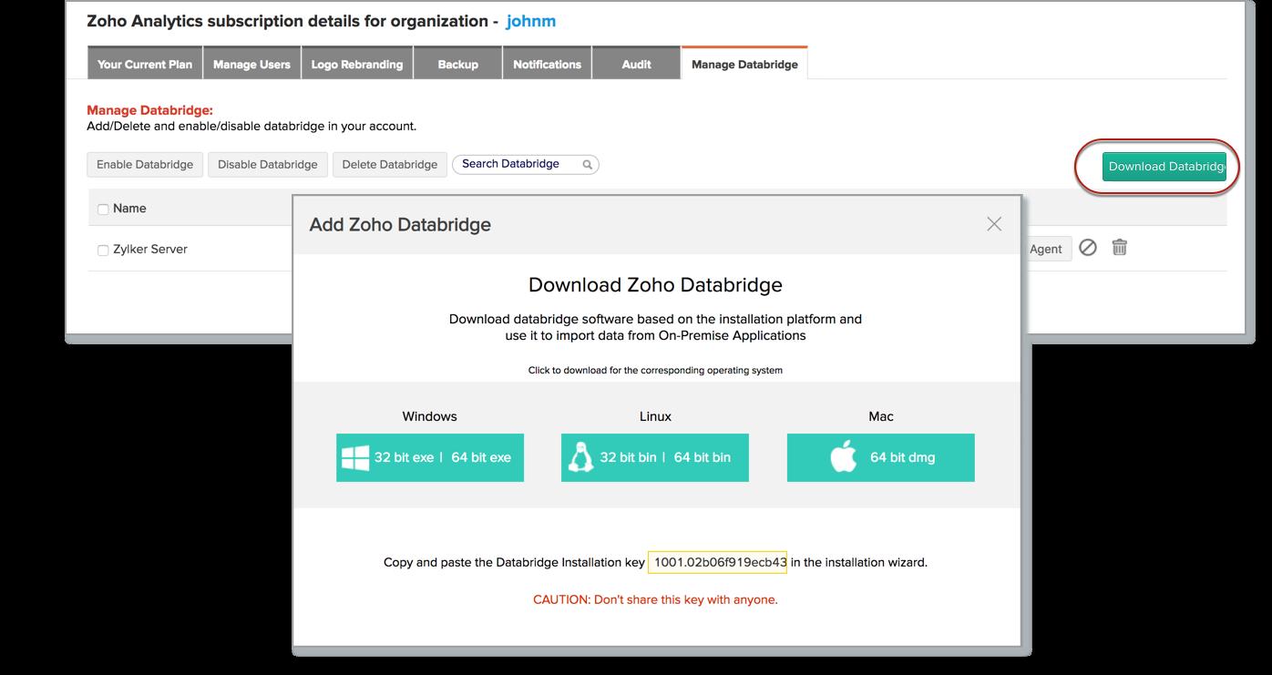 Zoho Databridge l Zoho Analytics help