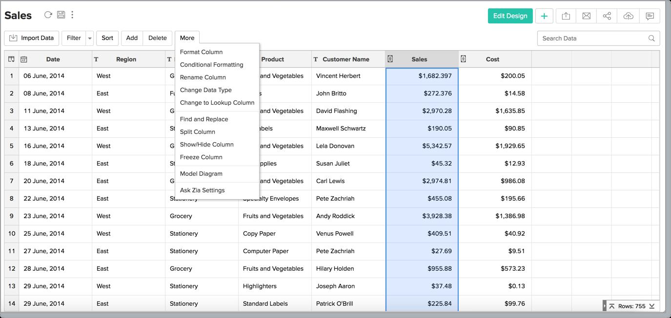 Data Formatting l Zoho Analytics Help