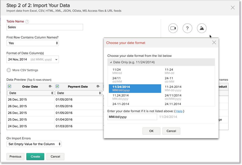 Import Data from Files l Zoho Analytics Help