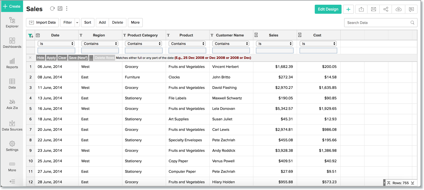 Working with Tables l Zoho Analytics Help