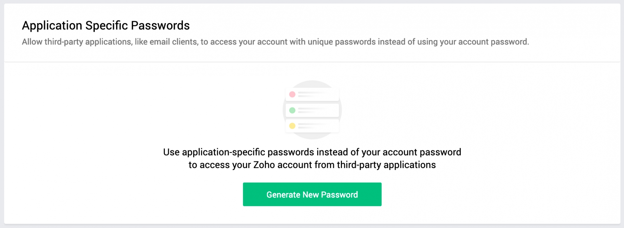 New password generation