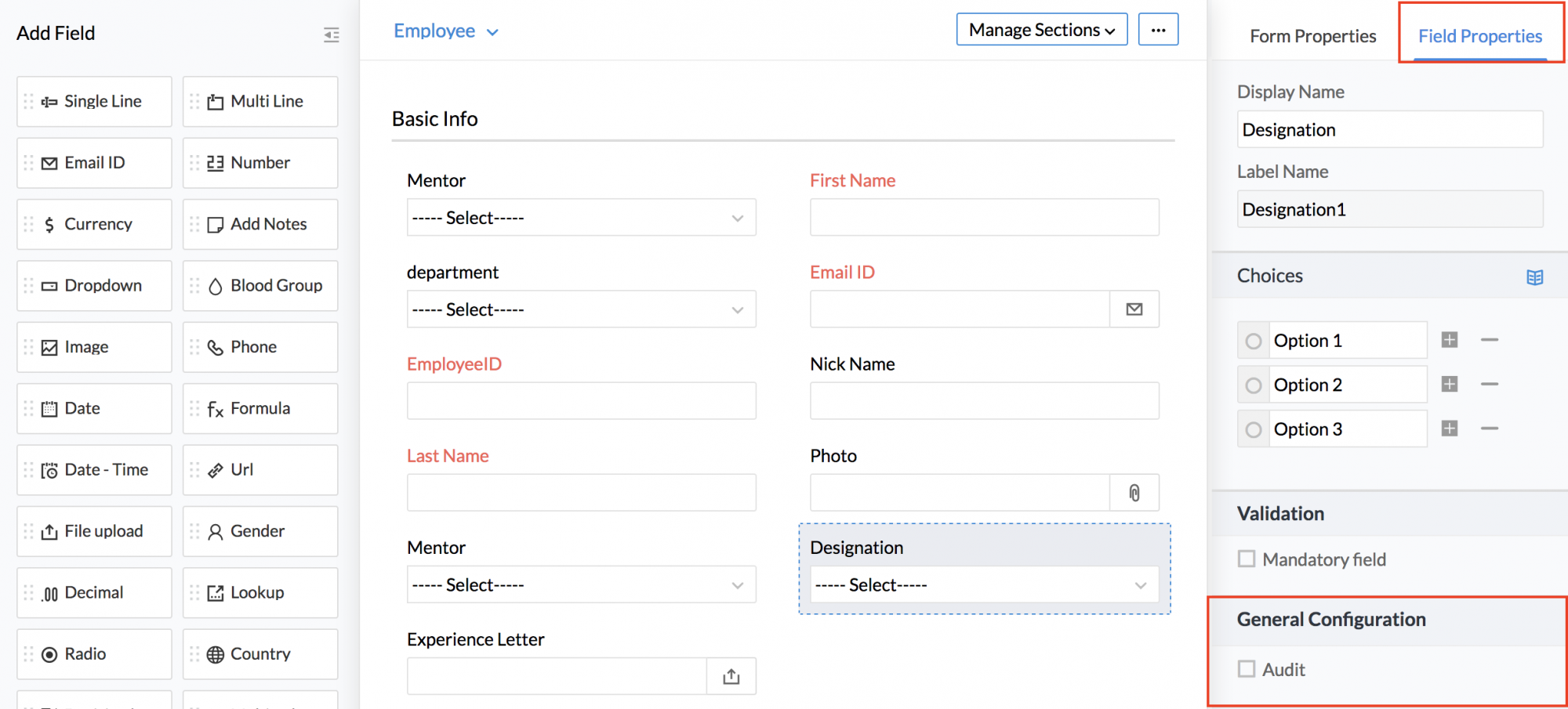 Permissions in forms | Zoho People