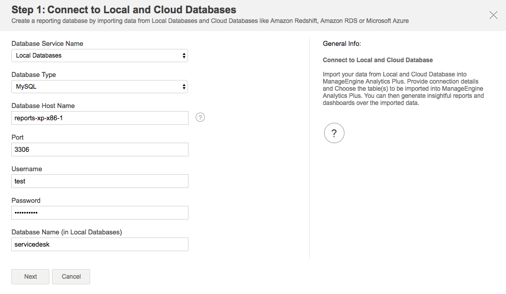 Import data from local and cloud databases - Analytics Plus