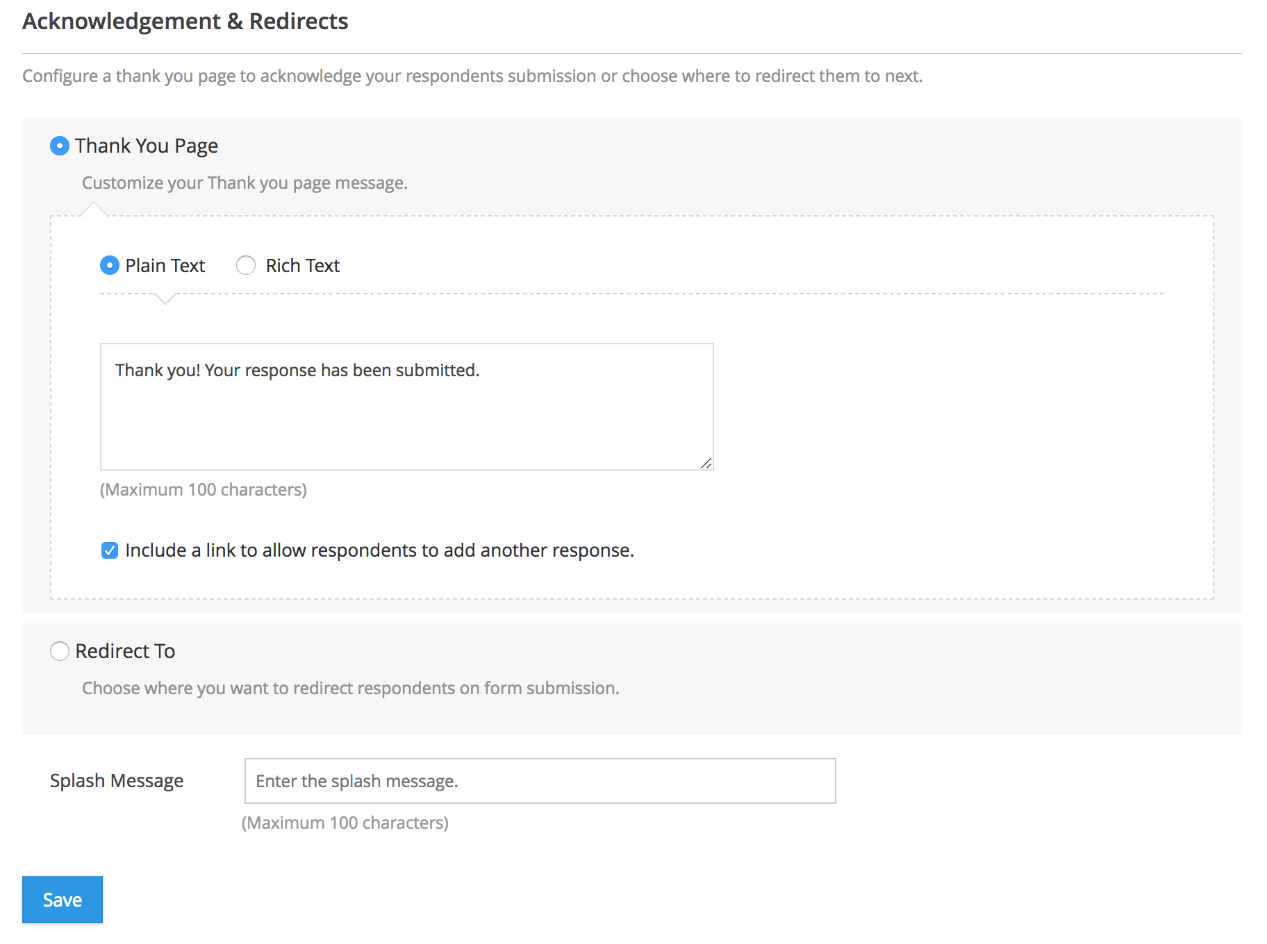 Acknowledgement & Redirects   Zoho Forms - User Guide