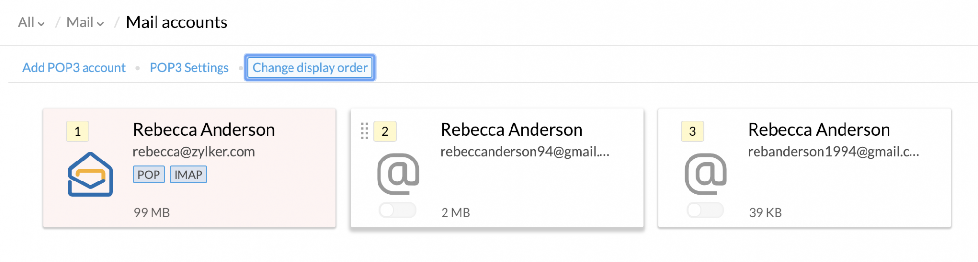 Configuring external POP Accounts in Zoho Mail