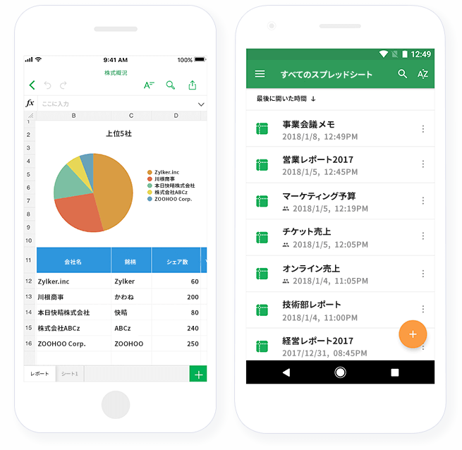 Zoho-sheet-dashboard-mobileapp