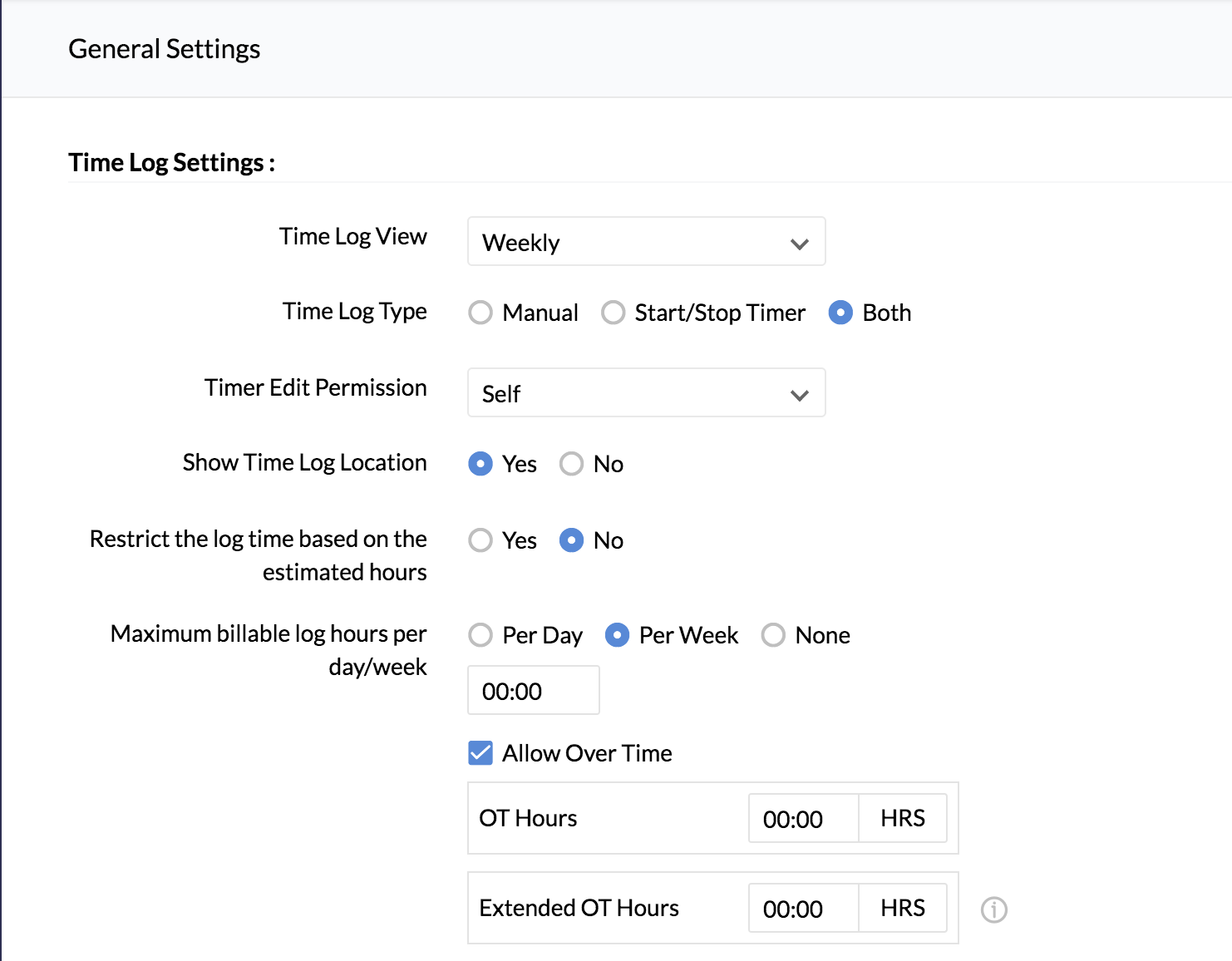 Timesheet Settings and Restrictions | Zoho People