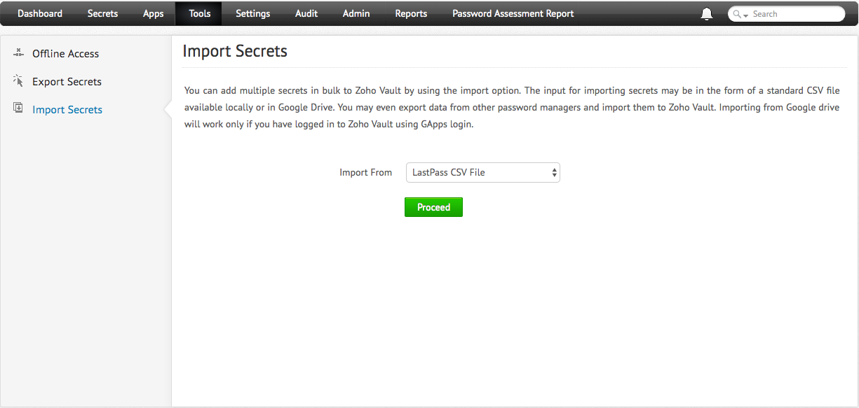 Import Passwords from Other Products - Zoho Vault