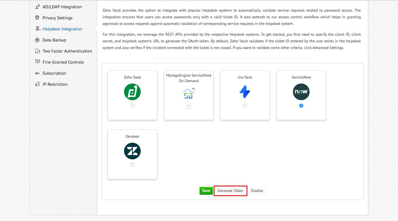 Zoho Vault - Helpdesk integration