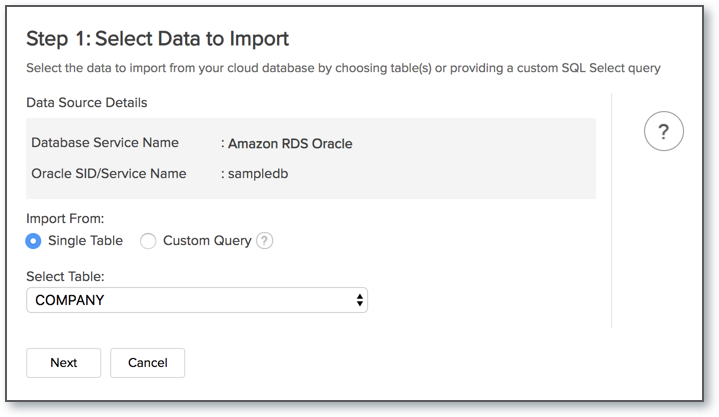 Import Data from Amazon RDS Oracle l Zoho Analytics Help