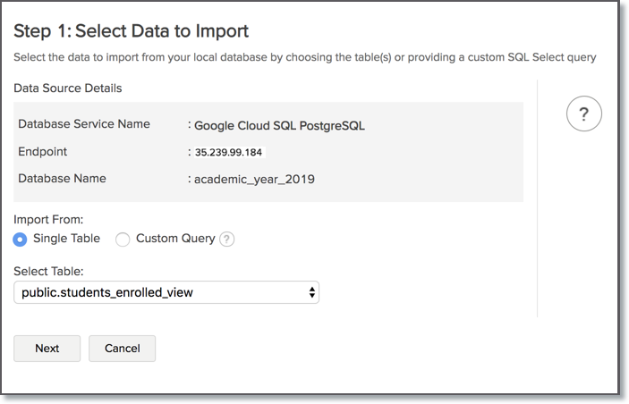 Import Data from Google Cloud SQL PostgreSQL l Zoho