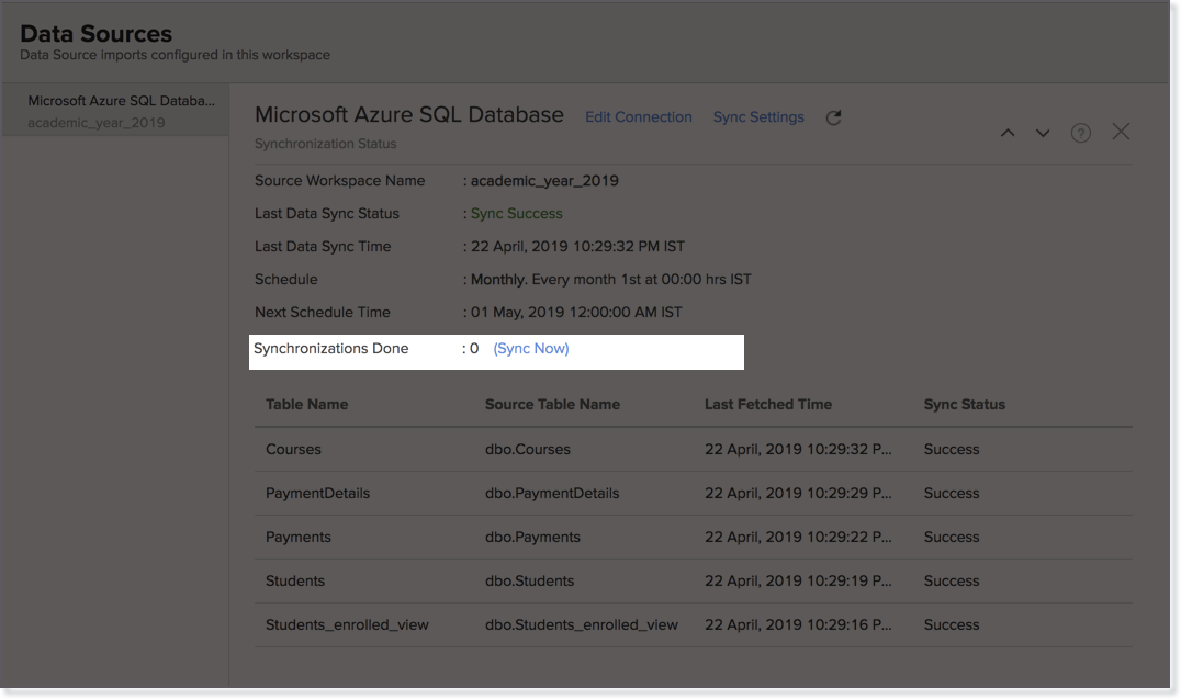 Import data from Microsoft Azure SQL Database | Zoho Analytics Help