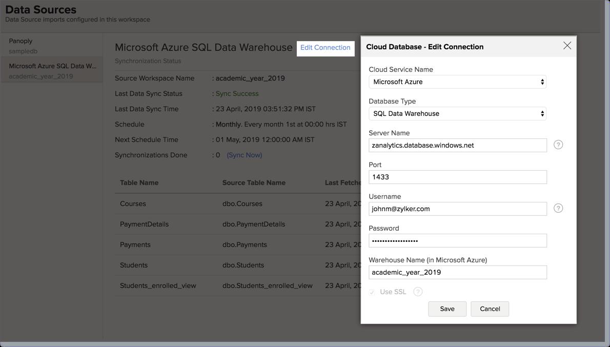 Import data from Microsoft Azure SQL Data Warehouse | Zoho