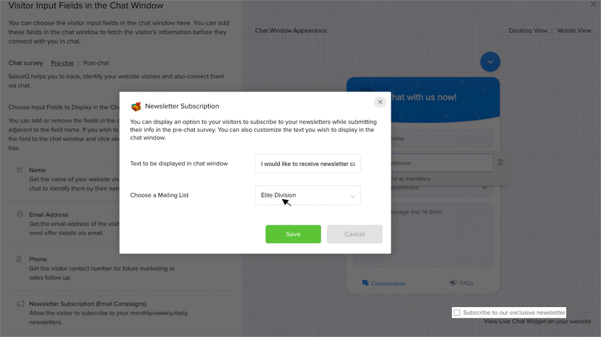 How to enable the newsletter subscription option in the chat