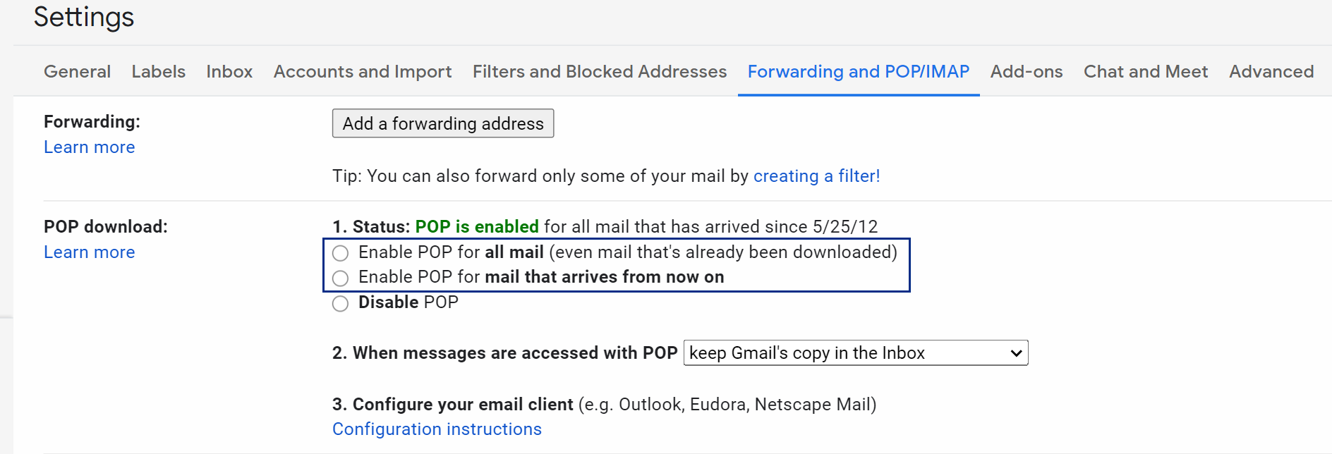 Gmail POP