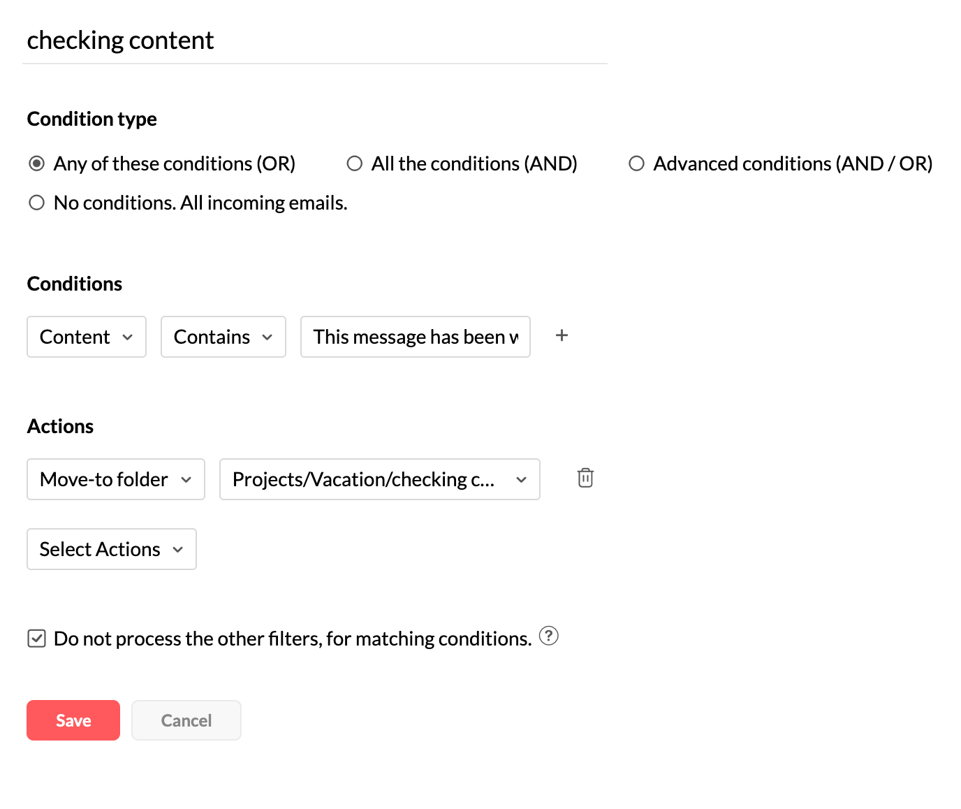Setting email filter conditions