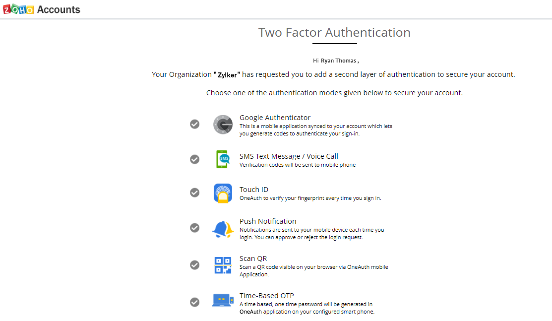 Two Factor Authentication - Zoho Vault